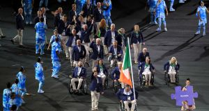 The Ireland team are led out by flag bearer John Twomey during the opening ceremony of the 2016 Rio Paralympic Games at the Maracana, Brazil. Photograph: Adam Davy/PA