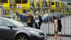 Dublin Bus workers picket in a dispute of pay rates. Photograph: Alan Betson