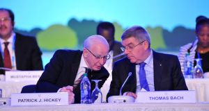 As Brazilian police wound up investigation of the OCI tickets case, further details emerged of text messages between Pat Hickey and the president of the IOC Thomas Bach in the run-up to the Rio Games. Photograph: Larry French/Getty Images