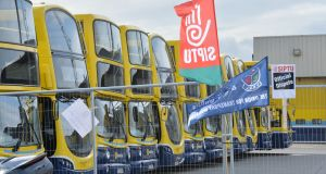 Dublin Bus strike enters second day. Photograph: Alan Betson / The Irish Times