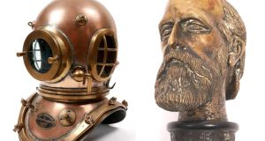 A diving helmet used by Joseph Murphy, the Dublin Port and Docks diver in the 1960s (€3,000-€5,000); a bog-oak baton with a silver-plated bust of Charles Stewart Parnell (€1,000-€1,500)