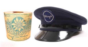 An unopened roll of Edelweiss brand toilet paper, which was issued to the Wehrmacht (€80-€120); a doorman's hat from Clery's department store (€200-€300)
