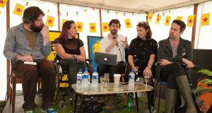 An Irish Times panel discussion on arts at the Irish Times tent at Electric Picnic. Pictured from left, Patrick Freyne, Louise Bruton, Lawrence Mackin, Una Mullaly and Peter Crawley.Photograph: Dave Meehan/The Irish Times