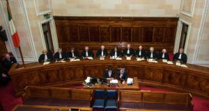 Supreme Court: Chief Justice Susan Denham with her fellow justices in 2014. Photograph: Collins Courts