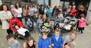 "Louise Renwick with her children Shay (3) and Bobby (10 months) and members of the ""Wine and Whine"" Blessington Mums community support group. Photograph: Alan Betson"