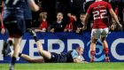 Cardiff Blues' Dan Fish scores a late  try against Munster in the Guiness Pro 12 game at Musgrave Park. Photograph:   Billy Stickland/Inpho