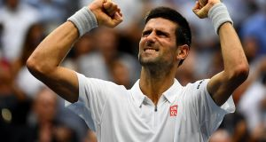 Novak Djokovic of Serbia celebrates defeating Gael Monfils of France  during their semi-final match at Flushing Meadows. Photograph:  Alex Goodlett/Getty Images