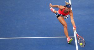 Angelique Kerber of Germany returns a shot against Karolina Pliskova of the Czech Republic during their women's singles final at the  US Open in New York. Photograph:  Chris Trotman/Getty Images for USTA