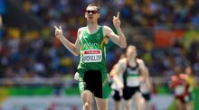 Michael Mckillop of Ireland celebrates winning the gold medal in the Men's 1500m - T37 Final at the Rio Paralympics. Photo: Jason Cairnduff/Reuters