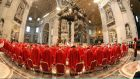 Cardinals attend the Pro Eligendo Romano Pontifice Mass at St Peter's Basilica, before entering the conclave to decide who the next pope will be, on March 12th, 2013. Photograph: Franco Origlia/Getty Images