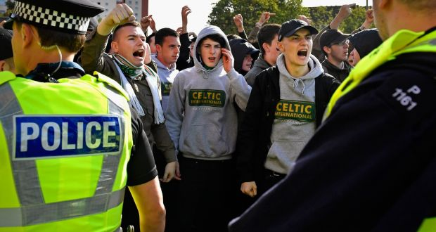 a6b5a30b18fe9 Celtic fans arrive at the Celtic v Rangers game at Celtic Park on Saturday.  Photograph