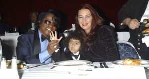 James Brown, son James Brown II and wife Tommy Ray Brown,  at a  gala dinner at the Sheraton Hotel April 6th, 2006 in New York City. Photograph: Arnaldo Magnani/Getty Images