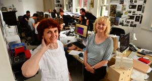 Shelly McNamara and Yvonne Farrell, of Grafton Architects, at their office in Dublin. Photograph: Dara Mac Dónaill