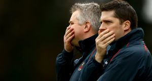 Mayo's manager Stephen Rochford and selector Seán Carey, who have led the county to their third All-Ireland final in five years. Photograph: James Crombie/Inpho