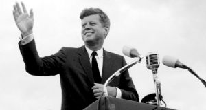 President John F. Kennedy acknowledging the cheers  as he visits New Ross, Co. Wexford, Ireland in 1963. Footage of his Irish visit features on the Irish Film Institute's  new IFI Player. Photograph:  PA Wire