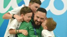Phillip Eaglesham with his three sons Tyler, aged 9, Travis, aged 13, and Mason, aged 6. Photograph: Sportsfile