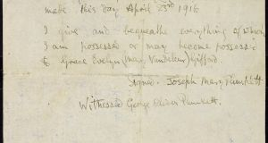 The will of Joseph Mary Plunkett, in which he bequeaths his possessions to his future wife  Grace Gifford, which is held in the National Library.