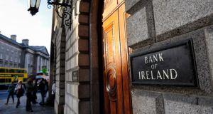 Shares in Bank of Ireland dropped as much as 2.6 per cent in Dublin in early trading. Photograph: Frantzesco Kangaris/Bloomberg