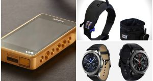 Sony signature series hi-res Walkman; Samsung Gear S3; Grrowler dog collar and bowl