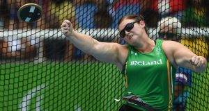 Orla Barry of Ireland in action during the Women's Discus F57 Final at the Olympic Stadium. Photograph: Diarmuid Greene/Sportsfile via Getty Images