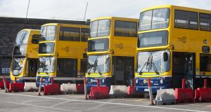 Idle Dublin Bus vehicles  outside the Broadstone Depot during the latest strike by company workers in a pay dispute. Photograph: Gareth Chaney/Collins