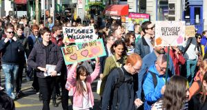 A rally calling on the government to take in more refugees, on O'Connell Street, Dublin last year. File photograph: Eric Luke/The Irish Times