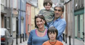 Giles Newington with Hilary Fannin and  their sons Peter and Jacob, in Shandon, Cork in 2005. Photograph: Alan Betson