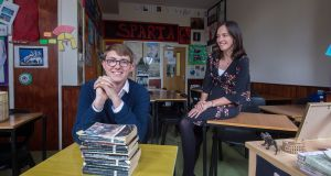 Oscar McHale 6th year student in Stratford College Rathgar with his Classics teacher Delia Donohue. Photograph: Brenda Fitzsimons / The Irish Times