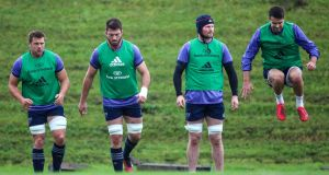 CJ Stander, Jean Klein, Donnacha Ryan and Conor Murray during Munster training. Photograph: Tommy Dickson/Inpho