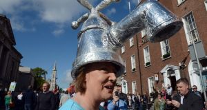 Anti-water charges protester in O'Connell Street, Dublin. Photograph: Eric Luke/The Irish Times