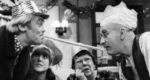 Till Death Do Us Part: Tony Booth in the BBC sitcom with Warren Mitchell, Una Stubbs and Dandy Nichols in 1966. Photograph: Leonard Burt/Getty
