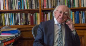 Arás an Uachtaráin: Michael D Higgins in his study at his official residence. Photograph: Brenda Fitzsimons