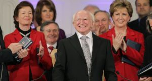 Heads of state: Michael D Higgins flanked by his predecessors Mary Robinson and Mary McAleese in 2011, at his inauguration. Photograph: Maxwells/Reuters