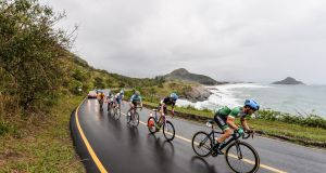 Ireland's Eoghan Clifford  leading during the  C1-3 Road Race  in Rio de Janeiro. Photograph:  Diarmuid Greene/Sportsfile