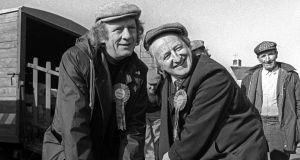 Michael D Higgins with the late actor Mick Lally during his 1987 election campaign.
