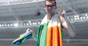 Michael McKillop  celebrates his victory in the men's 1,500m T37 final in  Rio. Photograph: Alexandre Loureiro/Getty Images