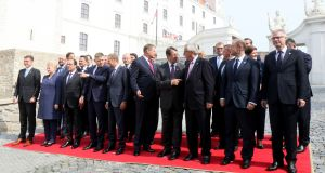 EU leaders gather for an  EU summit at Bratislava castle: while the  meeting marks the start of the conversation about Europe, there have been calls for consideration of a multitiered EU, built around a core who want to integrate further and a looser constellation. Photograph: Ronald Zak/AP