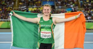 Noelle Lenihan of Ireland celebrates winning bronze after the F38 Discus Final at the Olympic Stadium during the Rio 2016 Paralympic Games in Rio de Janeiro, Brazil. Photo: Diarmuid Greene/Sportsfile