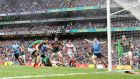 Kevin McLoughlin of Mayo scores an own goal during the All-Ireland Senior Football Championship final between Mayo and Dublin at Croke Park. Photo: Cathal Noonan/Inpho