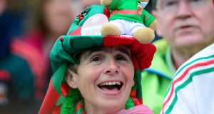 A Mayo fan during the All-Ireland football final between Dublin and Mayo at Croke Parkl, Dublin. Photograph: Cyril Byrne/The Irish Times