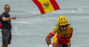 Juan José Méndez Fernández of Spain competes in the road race C1-2-3 during the Paralympic Games in Rio. Photograph: Anthony Edgar for OIS/IOC/AFP/Getty Images