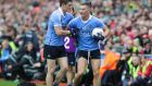 Dublin's Diarmuid Connolly and Ciarán Kilkenny on the sideline in added time. It was one of the only times all day that Connolly had a chance to shoot at the posts without Lee Keegan stuck to his side. Photograph: INPHO/Morgan Treacy