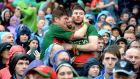 Mayo  fans during a tense moment in the All-Ireland football final between Dublin and Mayo at Croke Park, Dublin. Photograph: Cyril Byrne/The Irish Times