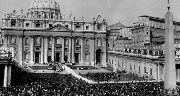 View of the procession of the Council Fathers on October 11th, 1962, in front of St Peter's Basilica at the Vatican, at the opening of the first session of the Second Ecumenical Council of the Vatican. Photograph: OFF/AFP/Getty Images