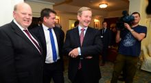 Minister for Finance Michael Noonan and Taoiseach Enda Kenny (with Dara Murphy TD) know that the real room for giveaways is severely limited. Photograph: Dara Mac Dónaill / The Irish Times