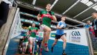 Dublin and Mayo players take to the pitch in Croke Park. Photograph: Morgan Treacy/Inpho