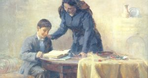 Comrade Stalin with Mother (1930)  by the Georgian artist Apollo Kutateladze: Stalin as intellectual lived in a world of words, ideas and texts. Books helped insulate him from the inhumane realities accompanying his violent pursuit of utopia