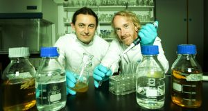 UCD's Dr Keith Murphy  with Dr James Linden, founder of GreenLight Medicines. Photograph: Peter Houlihan / Fennell Photography