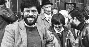 Bernadette McAliskey with then vice-president of Sinn Féin Gerry Adams at a Free Nicky Kelly march to the GPO in 1983. Photograph: Pat Langan