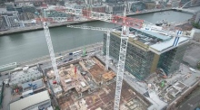 Dizzying climb of 80-metre crane in Dublin docklands